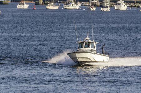 Fairhaven, Massachusetts, USA - August 5, 2019: Fairhaven Harbormaster responding to call Redakční