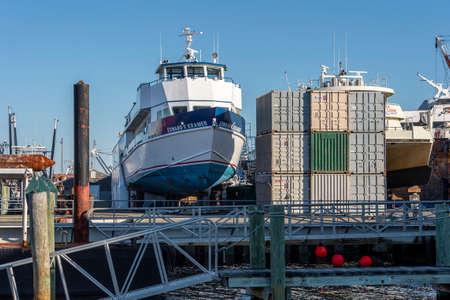 Fairhaven, Massachusetts, USA - March 1, 2020: Passenger-vehicle ferry Edward V. Kramer hauled out at Fairhaven Shipyard