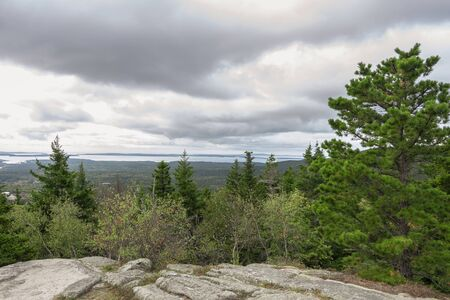 Southerly view from summit of Beech Mountain shows Cranberry Islands in distance