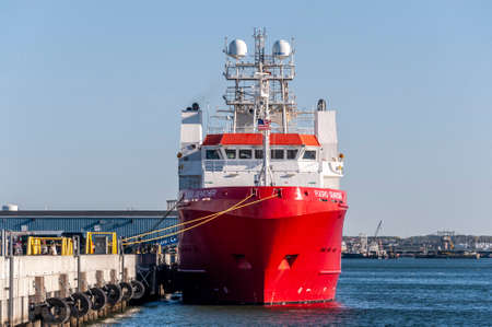New Bedford, Massachusetts, USA - May 13, 2020: Survey vessel Fugro Searcher docked at Marine Commerce Terminal on the Acushnet River