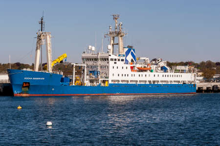 New Bedford, Massachusetts, USA - May 13, 2020: Multi-role survery vessel Ocean Observer docked at Marine Commerce Terminal