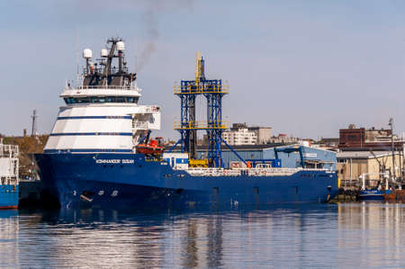 New Bedford, Massachusetts, USA - May 14, 2020: Kommandor Susan, an offshore tug/supply ship converted to a platform for a geotechnical drilling system, docked at Marine Commerce Terminal