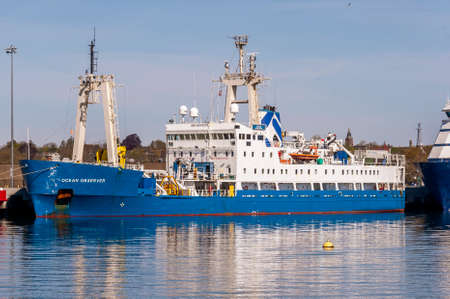 New Bedford, Massachusetts, USA - May 14, 2020: Multi-role survey vessel Ocean Observer docked at Marine Commerce terminal