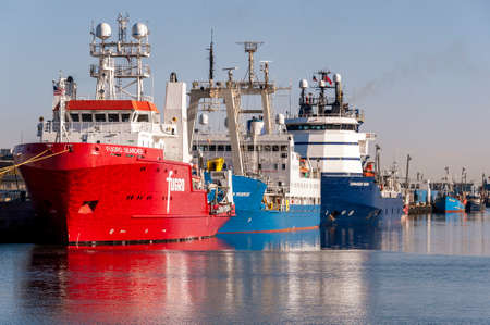 New Bedford, Massachusetts, USA - May 14, 2020: Fugro Searcher, Ocean Observer and Kommandor Susan docked at Marine Commerce Terminal on New Bedford waterfront