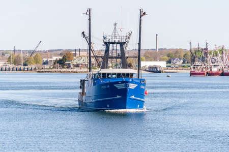 Fairhaven, Massachusetts, USA - May 14, 2020: Commercial fishing boat Kodiak heading out on fishing trip Redactioneel