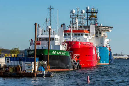 New Bedford, Massachusetts, USA - May 20, 2020: Go Liberty, Fugro Searcher, Geoquip Saentis and Kommandor Susan lined up at Marine Commerce Terminal