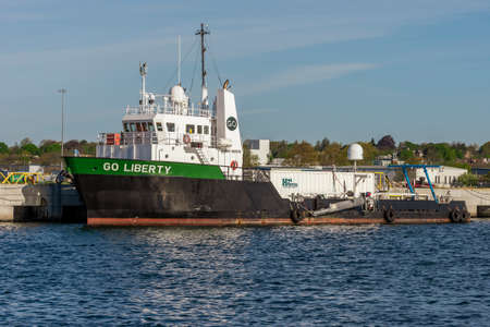 New Bedford, Massachusetts, USA - May 20, 2020: Offshore supply vessel Go Liberty docked at Marine Commerce Terminal