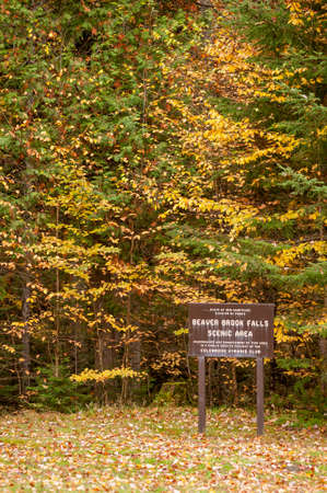 Sign for Beaver Brook Falls Scenic Area near Colebrook, New Hampshire