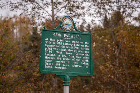 Sign marks 45th Parallel crossing northern New Hampshire, the halfway point between the North Pole and the equator