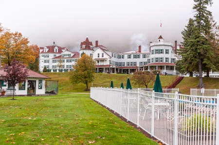 Dixville Notch, New Hampshire, USA - October 1, 2009: Overcast morning at The Balsams hotel, one of New Hampshire's grand resorts. A major redevelopment of the property was in the planning stages in 2017.