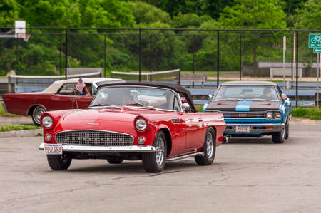 Fairhaven, Massachusetts, USA - July 4, 2020: Ford Thunderbird passing Fort Phoenix during Fairhaven Fourth of July Car Cruise Redakční