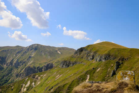 Mountains, rock and ridges in Auvergne. Landscape of the Massif du Sancy in the chain of puys in France.