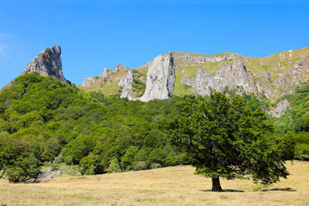 Le Sancy - Rocks, Peaks, mountains and forests in Auvergne. Chaudefour Valley. Landscape of the Massif du Sancy in the chain of puys in France.