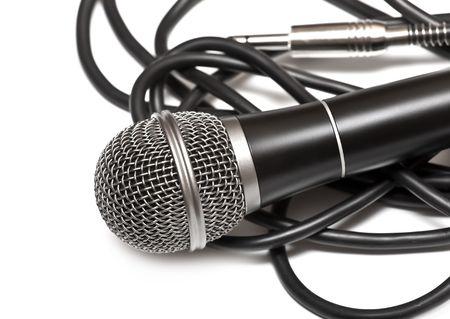 cardioid: Micr�fono cardioide con un cable negro Foto de archivo
