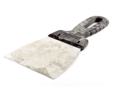 putty knives: Isolated old and dirty palette knife for plaster walls