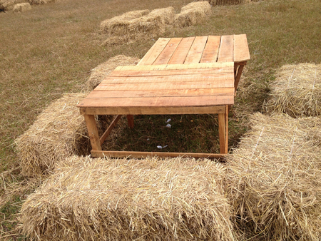 outdoor chair: Outdoor chair without backrest made from hay Stock Photo