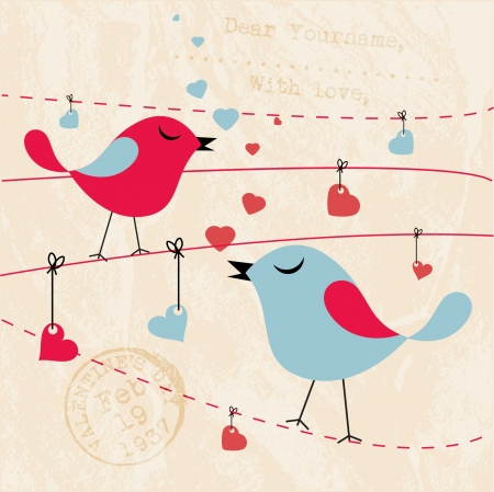 beau: Valentines Card Background with Birds  Illustration