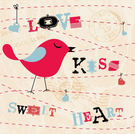 Valentines Card Background with Birds and Text