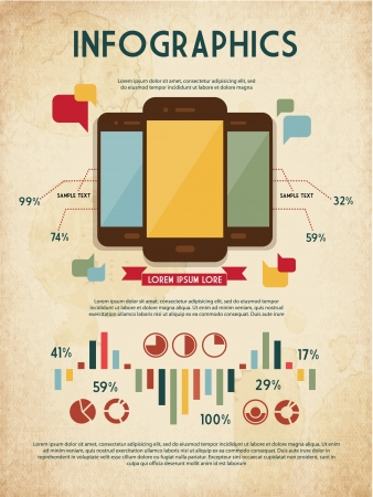 retro set of infographic elements for your documents and reports with three touchscreen mobile phone devices Vector