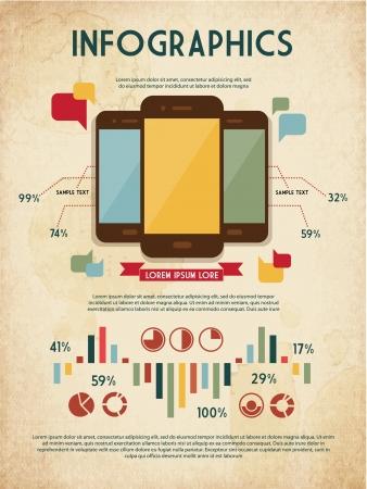 vintage telefoon: retro set van infographic elementen voor uw documenten en rapporten met drie touchscreen mobiele telefoons