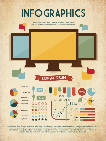retro set of infographic elements for your documents and reports with three touchscreen devices Vector