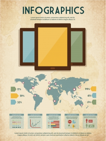 Vintage Infographic Collection with Retro Touchscreen Tablets  For High Quality Graphic Projects