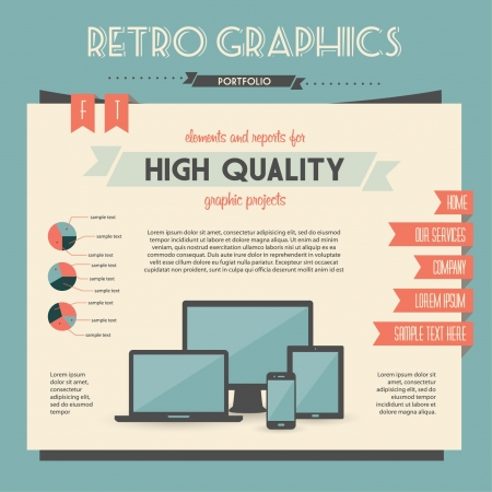 infographics touchscreen: retro set of infographic elements for your documents and reports with electric devices Illustration