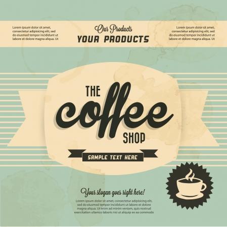 label: Retro Vintage Koffie Achtergrond met Typografie Stock Illustratie
