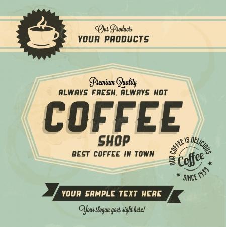 chicchi di caff�: Retro Caff� Sfondo Vintage con Tipografia Vettoriali