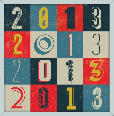 Colorful Retro Vintage 2013 New Year Poster Background