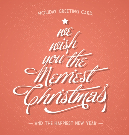 retro vintage christmas greeting card with typography  Illustration
