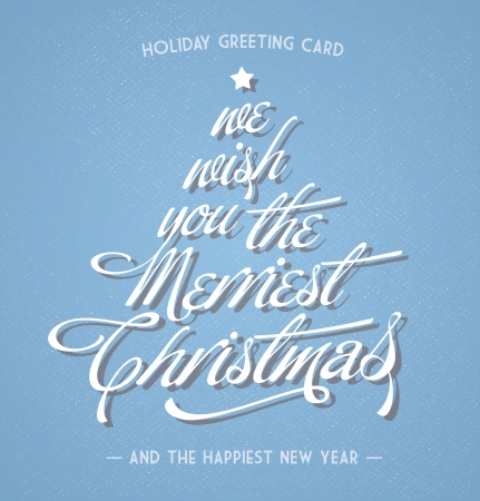 season greetings: retro vintage christmas greeting card with typography  Illustration