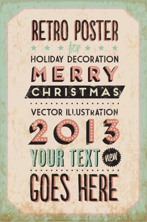 Retro Vintage Merry Christmas Tin Sign with Typography and Grunge Effect Stock Vector - 16956496
