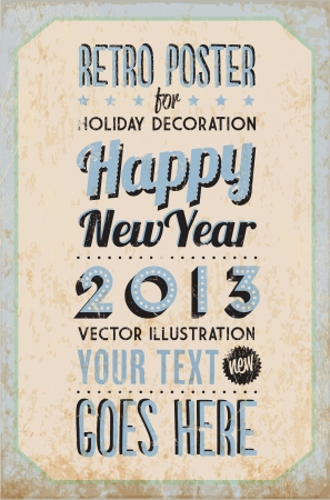 Retro Vintage Happy New Year Tin Sign with Typography and Grunge Effect Stock Vector - 16956493