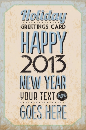 Retro Vintage Happy New Year Tin Sign with Typography and Grunge Effect Stock Vector - 16956494