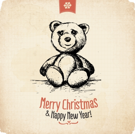 Retro Vintage Hand Drawn Christmas Greeting Card Stock Vector - 16956469