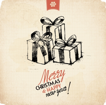 Retro Vintage Hand Drawn Christmas Greeting Card Stock Vector - 16956491