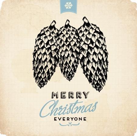 Retro Vintage Hand Drawn Christmas Greeting Card Stock Vector - 16956489