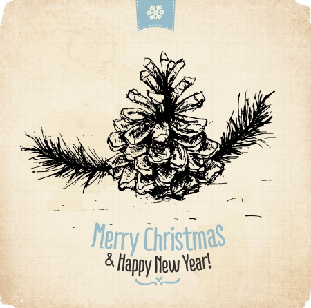 Retro Vintage Hand Drawn Christmas Greeting Card Stock Vector - 16968764