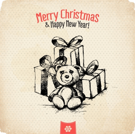 Retro Vintage Hand Drawn Christmas Greeting Card  Stock Vector - 16968767