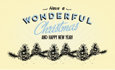 Retro Vintage Merry Christmas Greeting Card with Typography  Illustration