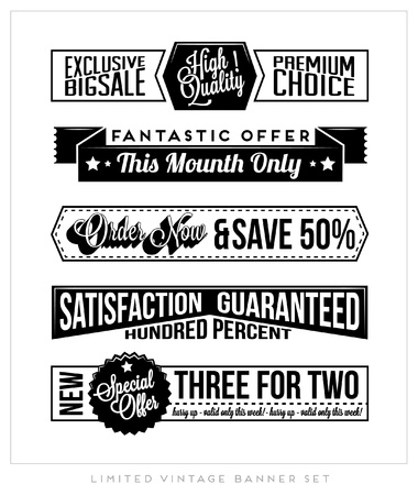 Set of Retro Vintage Typographic Business Banner Design Set for Web or Print Stock Vector - 18980552