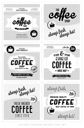 Set of Retro Vintage Coffee Label Backgrounds
