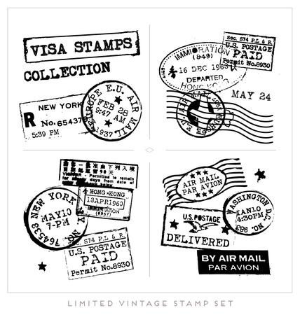 Various Visa Stamps Background Stock Vector - 18980588