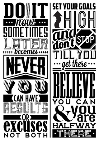quotes: Set of Retro Vintage Motivational Quotes with Calligraphic and Typographic Elements