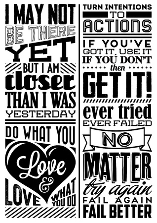 Set of Retro Vintage Motivational Quotes with Calligraphic and Typographic Elements Vector