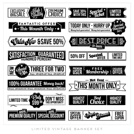 price tags: Set of Retro Vintage Typographic Business Banner Design Set for Web or Print Illustration