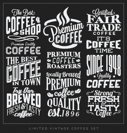 Set of Retro Vintage Coffee Labels with Calligraphic and Typographic Elements Illustration