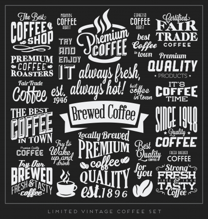 typography: Set of Retro Vintage Coffee Labels with Calligraphic and Typographic Elements Illustration