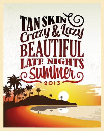 zomer: Retro Vintage Summer Poster Design met Typografie